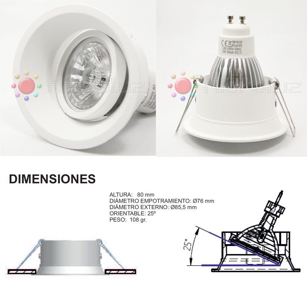 downlight led blanco basculante 12w blanco puro