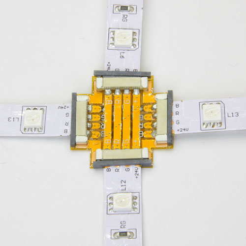 Conector x tira led rgb 10 12 mm