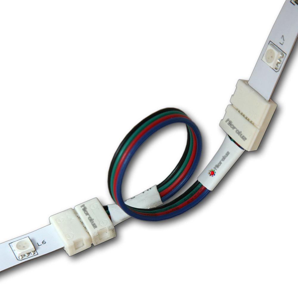 conector y cable empalme tira led rgb 10mm