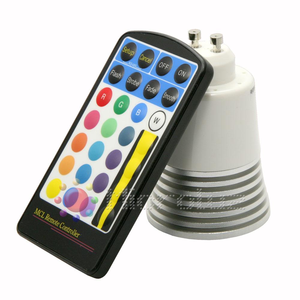 Bombilla LED Arcoiris con mando a distancia GU10