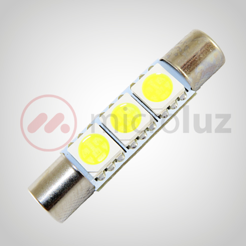 Bombilla LED  C5W 29mm 3 LED SMD 5050 Blanco Xenón