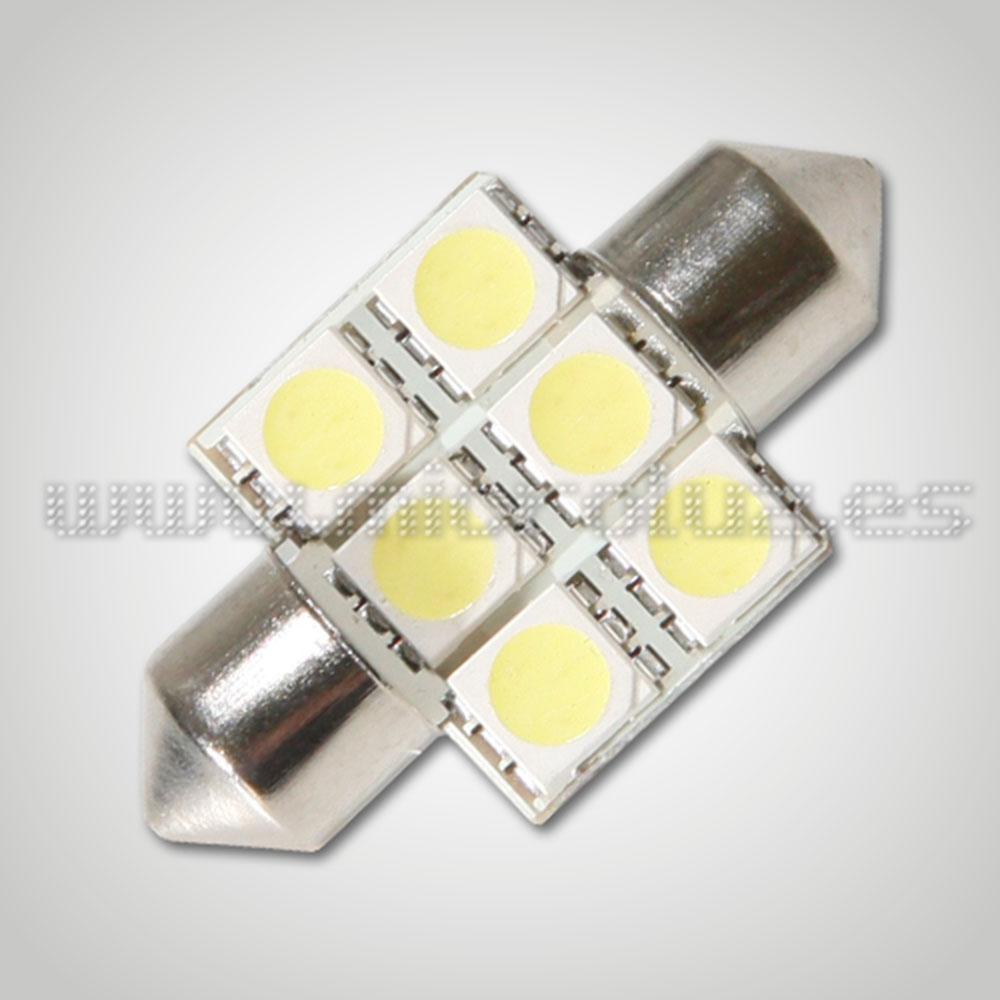 Bombilla LED  C5W 31mm 6 LED SMD5050 Blanco Xenón