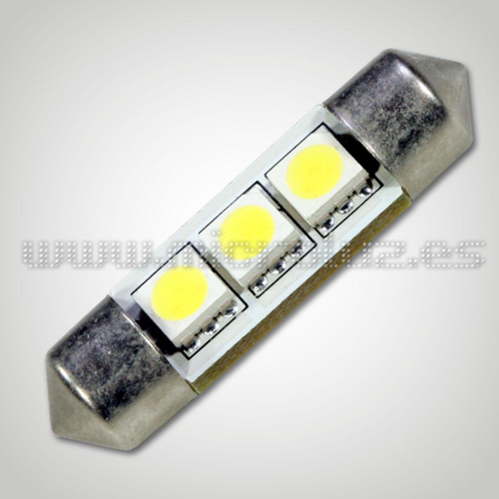 Bombilla LED  C5W 36mm 3 LED SMD5050 Blanco Xenón