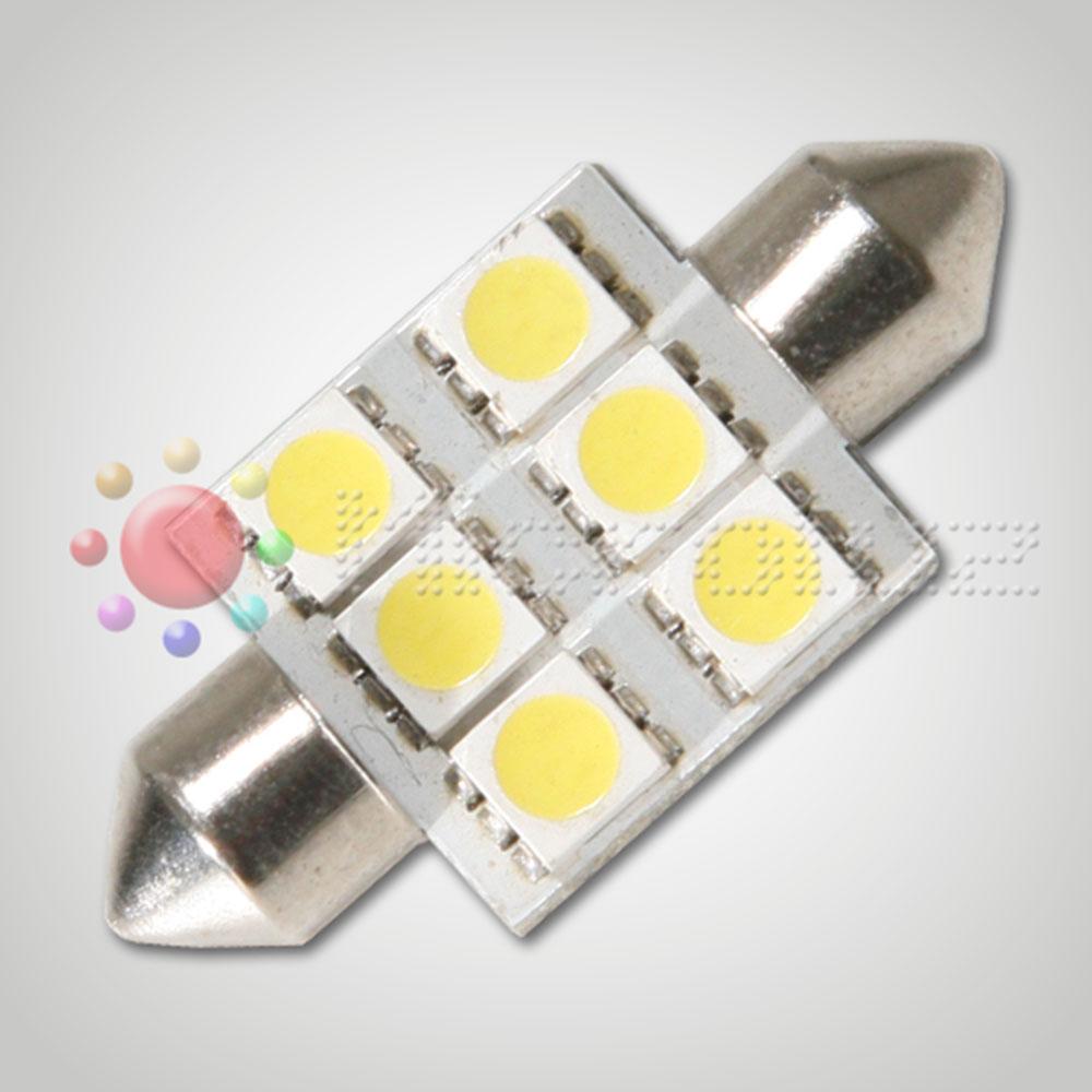 Bombilla LED  C5W 36mm 6 LED SMD5050 Blanco Xenón