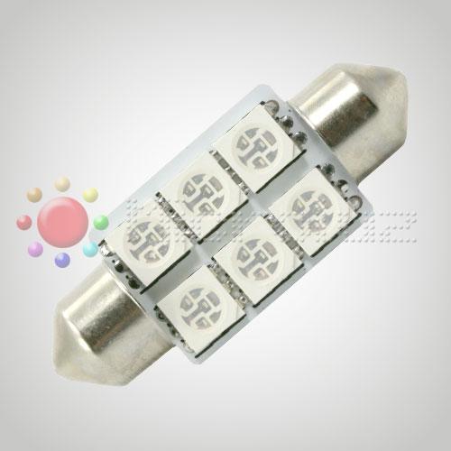 Bombilla LED  C5W 36mm 6 LED SMD5050 Azul