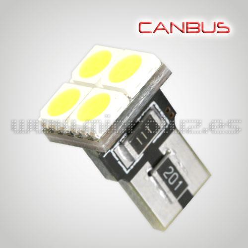 Bombilla T10 4 LED SMD 120º Blanco Xenón Canbus