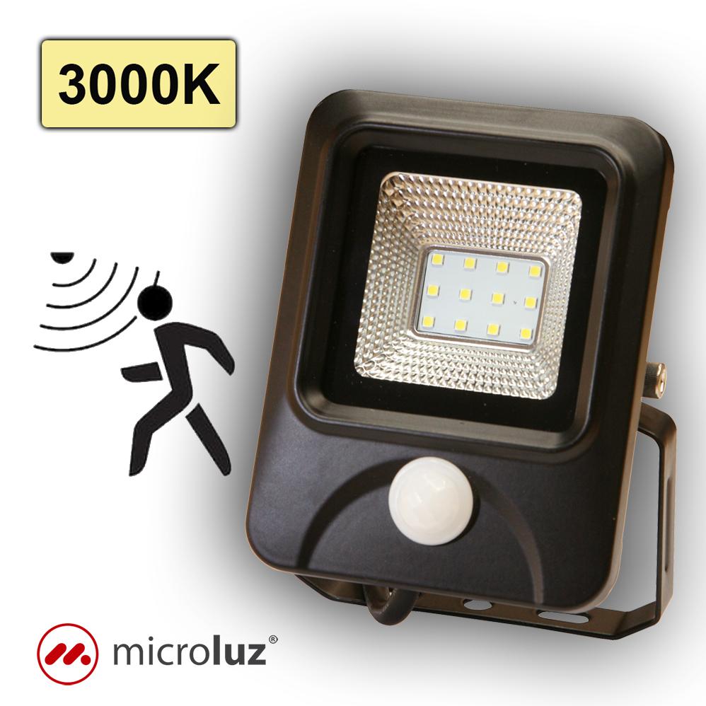 Proyector LED con detección de Movimiento 10W Blanco Cálido