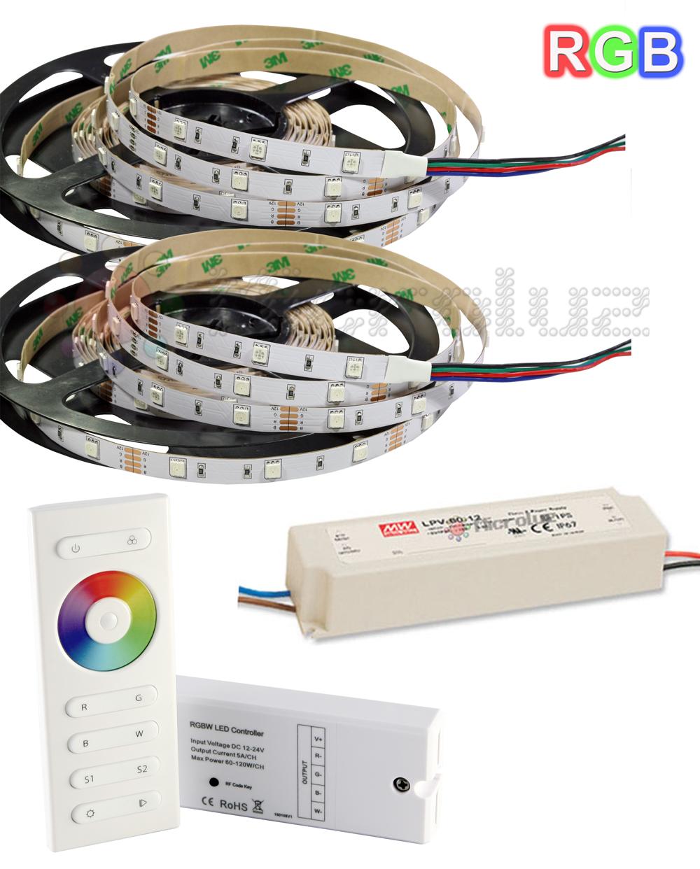 Tira de LED RGB 10 metros + Controlador con mando a distancia + Fuente LED 60W