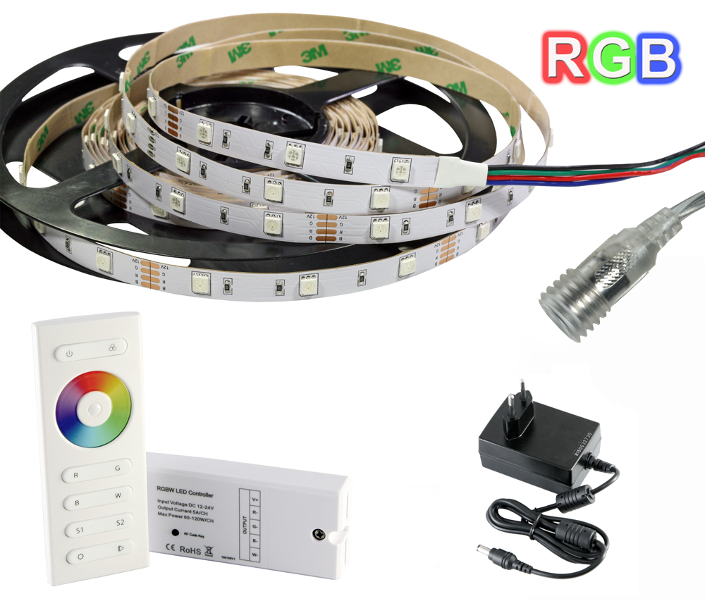 Tira de LED RGB 5 metros + Controlador con mando+ Trasformador