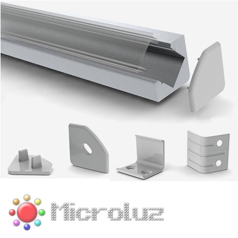 Perfil aluminio triangular 45º difusor opal