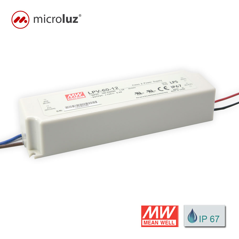 Fuente de Alimentación 12V 60W 5A IP 67 Mean Well