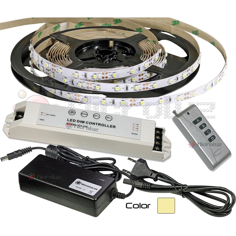 Tira LED Blanco Cálido 5 metros + Regulador con Mando RF