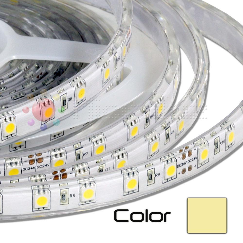 Tira LEDs 5M Triple Núcleo Doble Densidad Blanco Cálido Imperm.