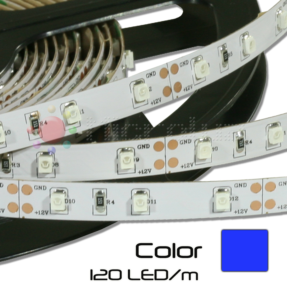 Tira de LEDs 5 metros SMD 24V 120LED/metro Autoadhesivo- Azul