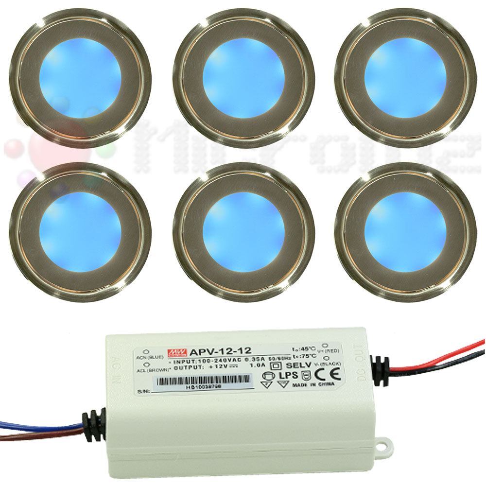 Kit 6 Moon Lights Color AZUL Empotrables Exterior